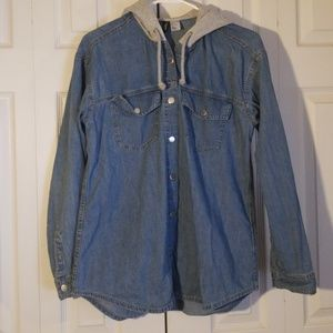 H&M Jean Shirt/Jacket with Hood